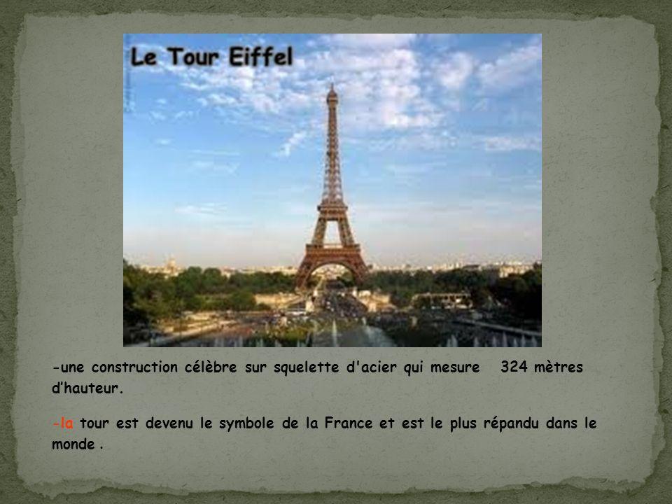 -une construction célèbre sur squelette d'acier qui mesure 324 mètres dhauteur. -la tour est devenu le symbole de la France et est le plus répandu dan