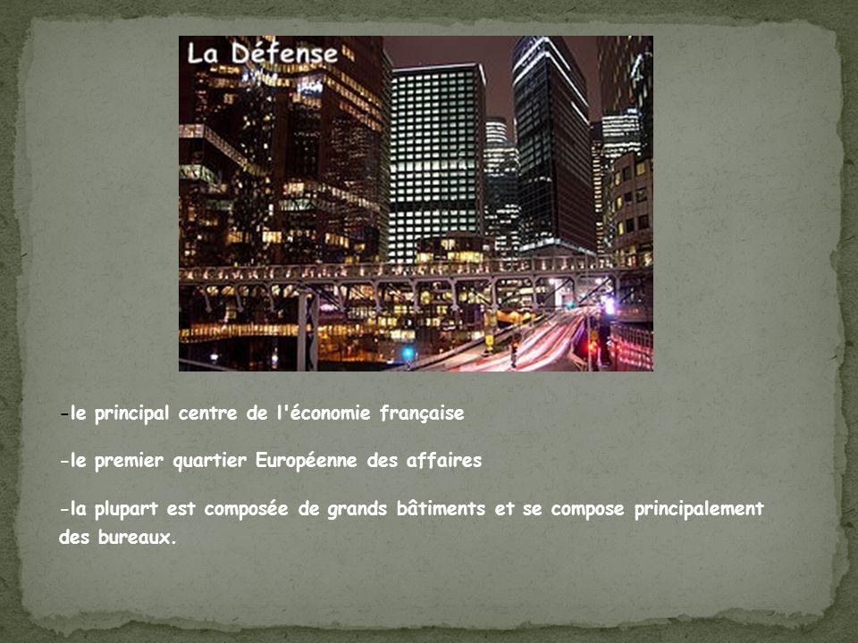 -le principal centre de l'économie française -le premier quartier Européenne des affaires -la plupart est composée de grands bâtiments et se compose p
