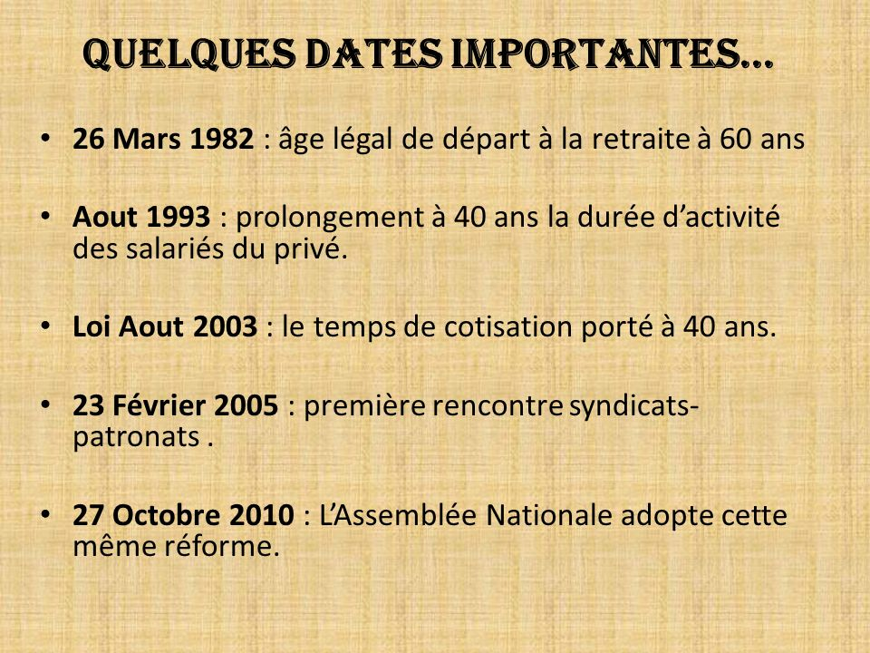 Quelques dates importantes...