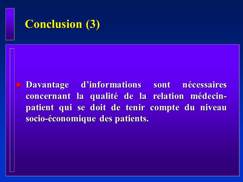 Conclusion (3) l Davantage dinformations sont nécessaires concernant la qualité de la relation médecin- patient qui se doit de tenir compte du niveau
