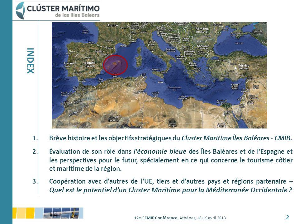 12e FEMIP Conférence, Athènes, 18-19 avril 2013 2 1.Brève histoire et les objectifs stratégiques du Cluster Maritime Îles Baléares - CMIB. 2.Évaluatio