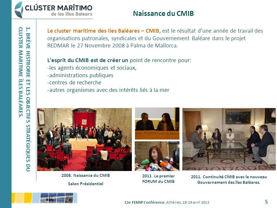 12e FEMIP Conférence, Athènes, 18-19 avril 2013 5 Le cluster maritime des Iles Baléares – CMIB, est le résultat dune année de travail des organisation