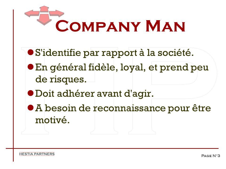 Page N°3 Company Man S'identifie par rapport à la société. En général fidèle, loyal, et prend peu de risques. Doit adhérer avant d'agir. A besoin de r