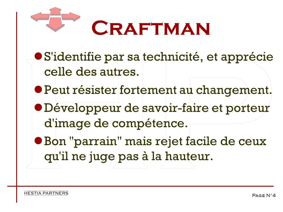 Page N°4 Craftman S'identifie par sa technicité, et apprécie celle des autres. Peut résister fortement au changement. Développeur de savoir-faire et p