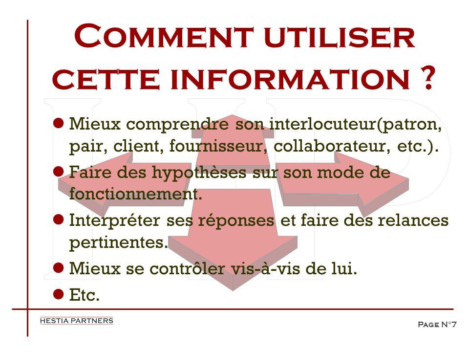 Page N°7 Comment utiliser cette information ? Mieux comprendre son interlocuteur(patron, pair, client, fournisseur, collaborateur, etc.). Faire des hy