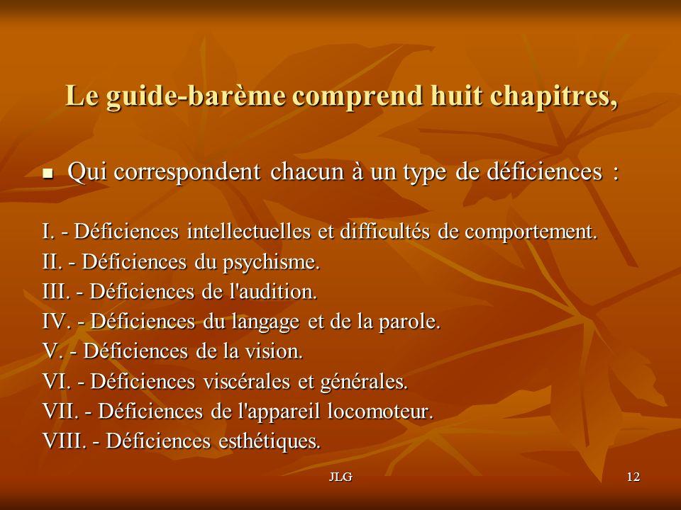 JLG12 Le guide-barème comprend huit chapitres, Qui correspondent chacun à un type de déficiences : Qui correspondent chacun à un type de déficiences :