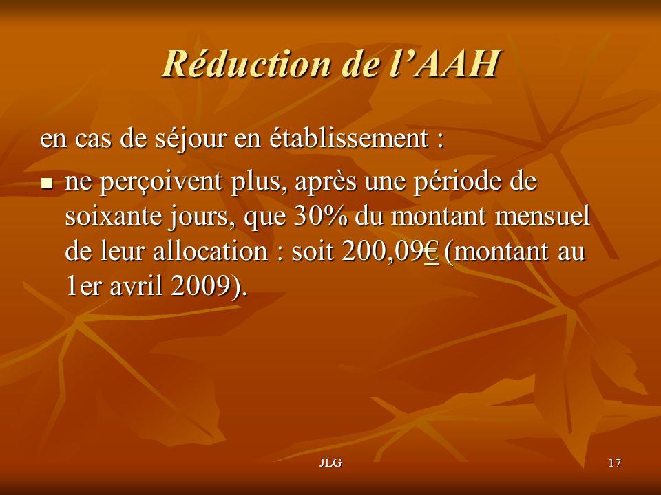 JLG17 Réduction de lAAH en cas de séjour en établissement : ne perçoivent plus, après une période de soixante jours, que 30% du montant mensuel de leu