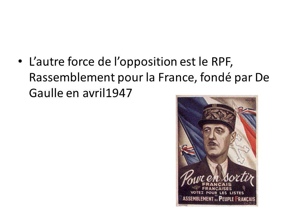 Lautre force de lopposition est le RPF, Rassemblement pour la France, fondé par De Gaulle en avril1947
