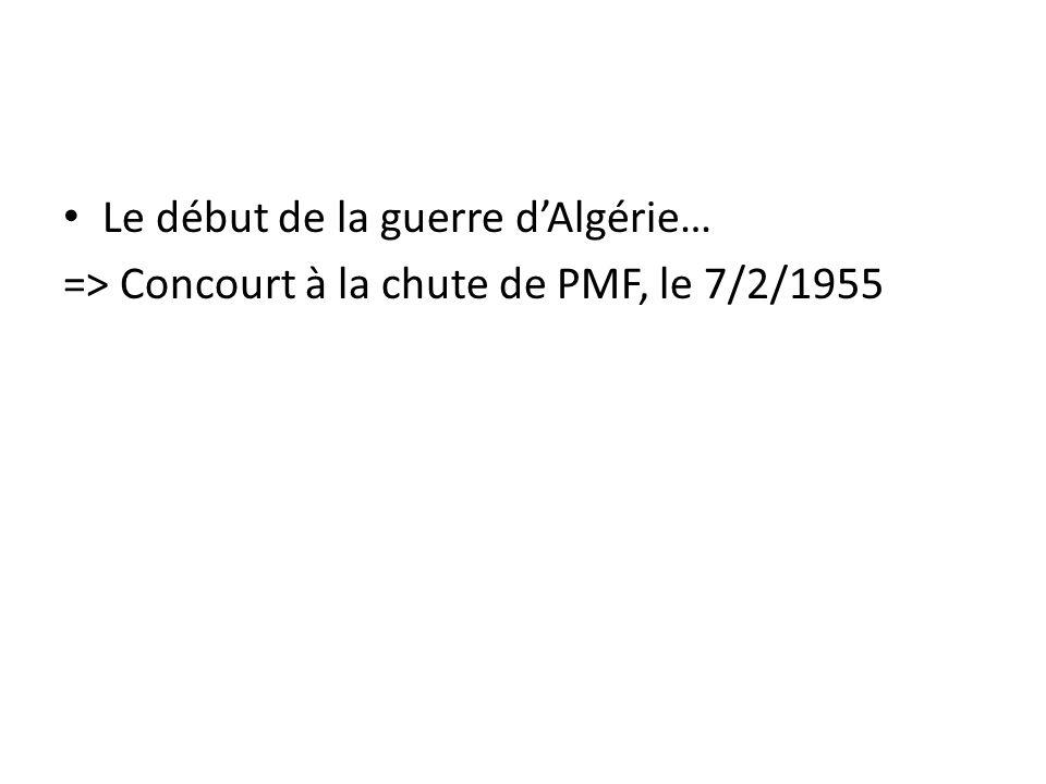 Le début de la guerre dAlgérie… => Concourt à la chute de PMF, le 7/2/1955