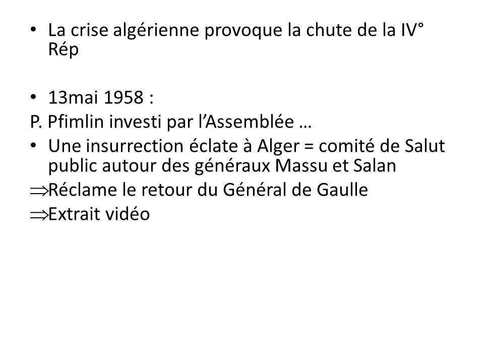 La crise algérienne provoque la chute de la IV° Rép 13mai 1958 : P. Pfimlin investi par lAssemblée … Une insurrection éclate à Alger = comité de Salut
