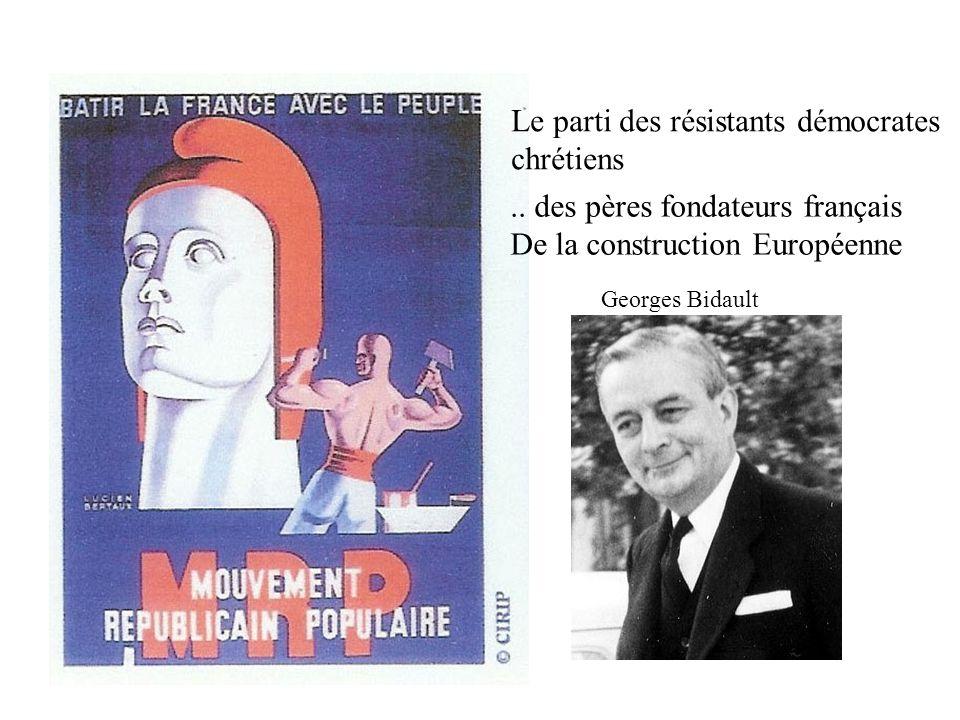 Le parti des résistants démocrates chrétiens Georges Bidault.. des pères fondateurs français De la construction Européenne
