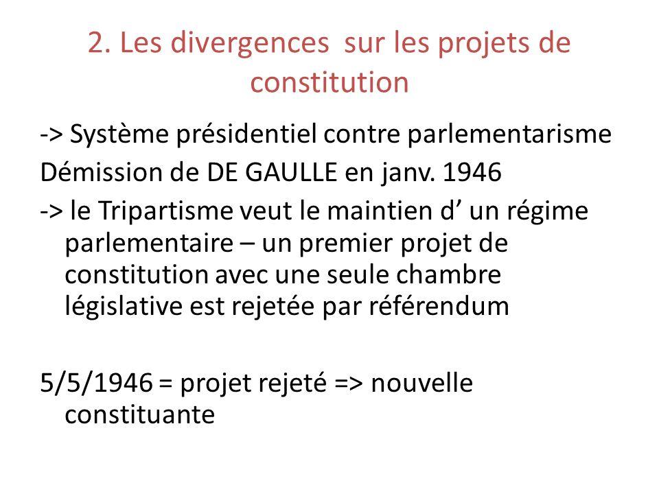 2. Les divergences sur les projets de constitution -> Système présidentiel contre parlementarisme Démission de DE GAULLE en janv. 1946 -> le Tripartis