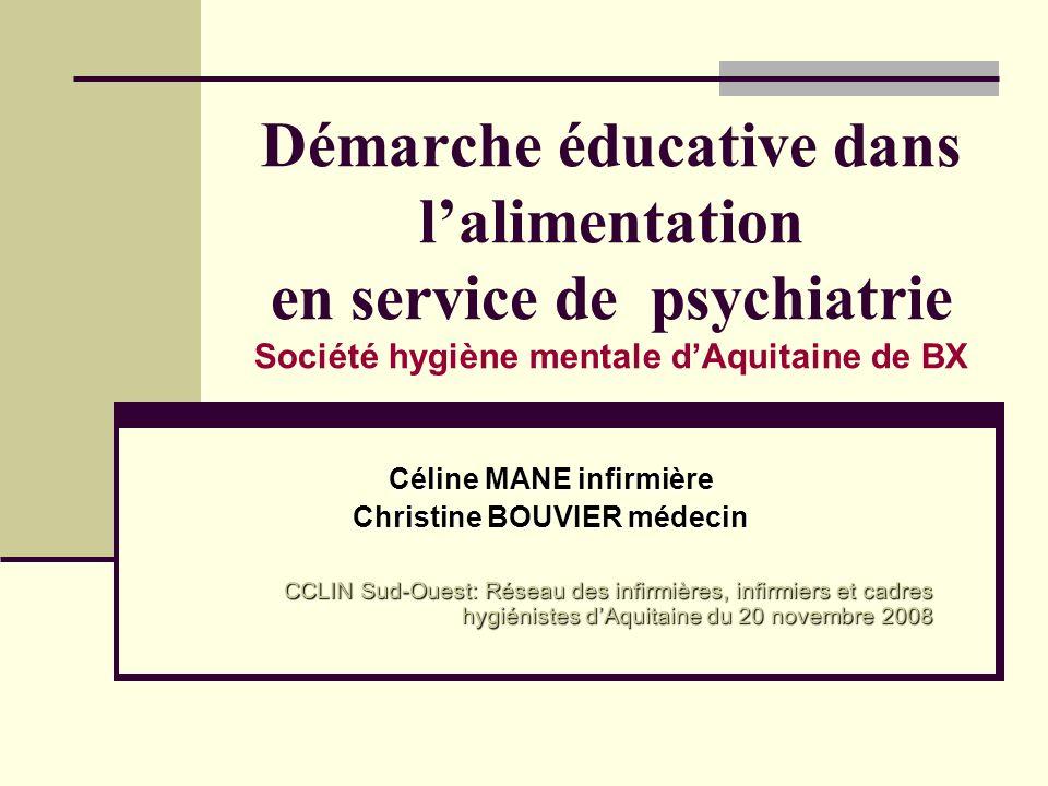 Démarche éducative dans lalimentation en service de psychiatrie Société hygiène mentale dAquitaine de BX Céline MANE infirmière Christine BOUVIER méde