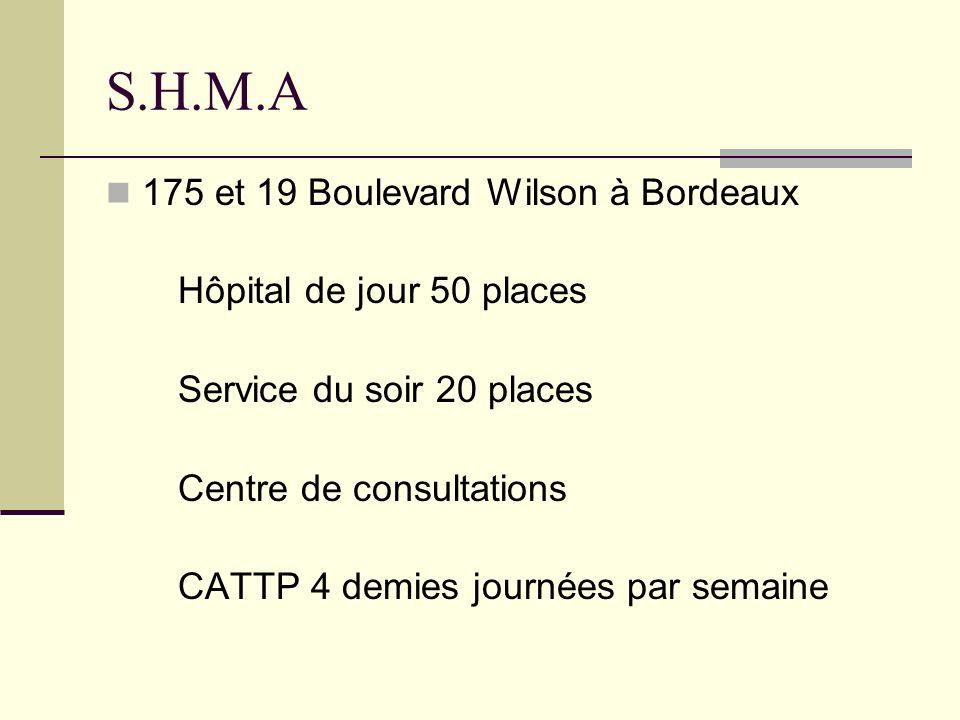 S.H.M.A 175 et 19 Boulevard Wilson à Bordeaux Hôpital de jour 50 places Service du soir 20 places Centre de consultations CATTP 4 demies journées par