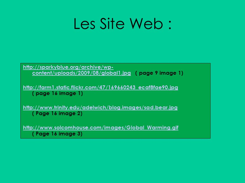 Les Site Web : http://sparkyblue.org/archive/wp- content/uploads/2009/08/global1.jpghttp://sparkyblue.org/archive/wp- content/uploads/2009/08/global1.jpg ( page 9 image 1) http://farm1.static.flickr.com/47/169660243_ecaf8fae90.jpg http://farm1.static.flickr.com/47/169660243_ecaf8fae90.jpg ( page 16 image 1) http://www.trinity.edu/adelwich/blog.images/sad.bear.jpg http://www.trinity.edu/adelwich/blog.images/sad.bear.jpg ( Page 16 image 2) http://www.solcomhouse.com/images/Global_Warming.gif http://www.solcomhouse.com/images/Global_Warming.gif ( Page 16 image 3)