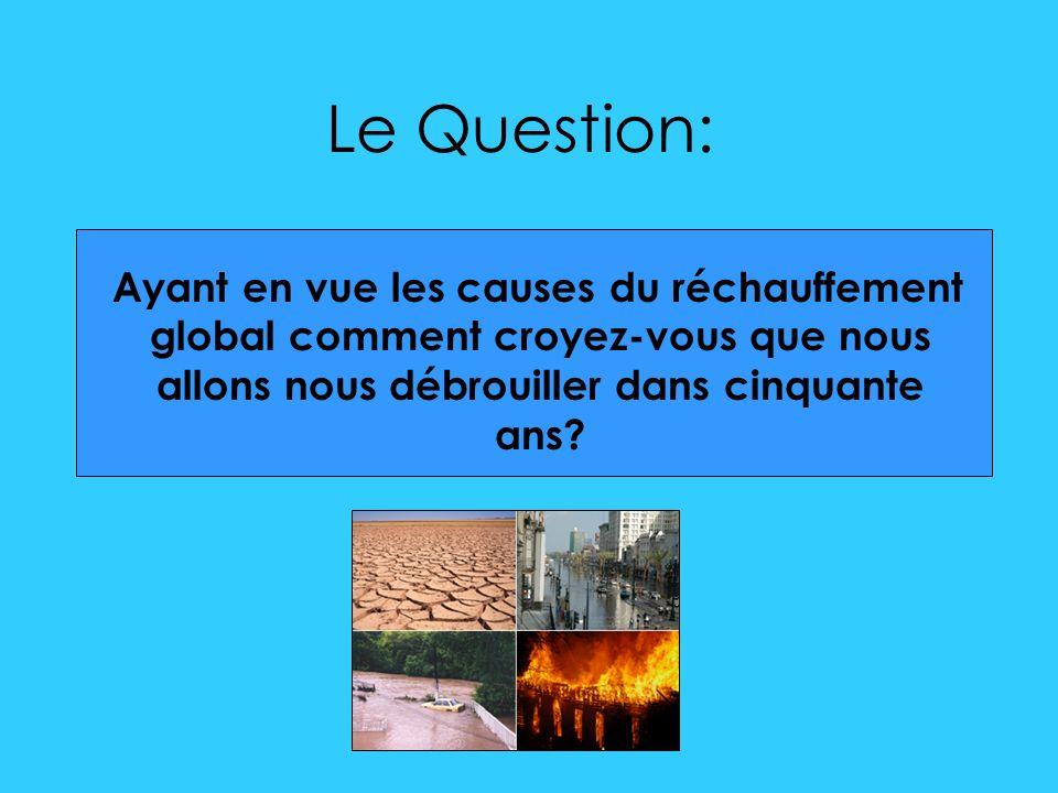 Le Question: Ayant en vue les causes du réchauffement global comment croyez-vous que nous allons nous débrouiller dans cinquante ans