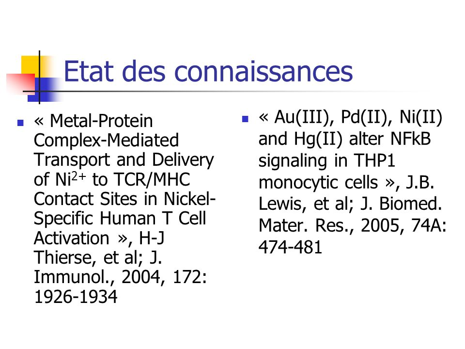 Etat des connaissances « Metal-Protein Complex-Mediated Transport and Delivery of Ni 2+ to TCR/MHC Contact Sites in Nickel- Specific Human T Cell Acti