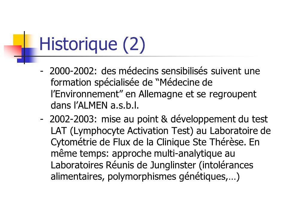 Historique (2) - 2000-2002: des médecins sensibilisés suivent une formation spécialisée de Médecine de lEnvironnement en Allemagne et se regroupent dans lALMEN a.s.b.l.