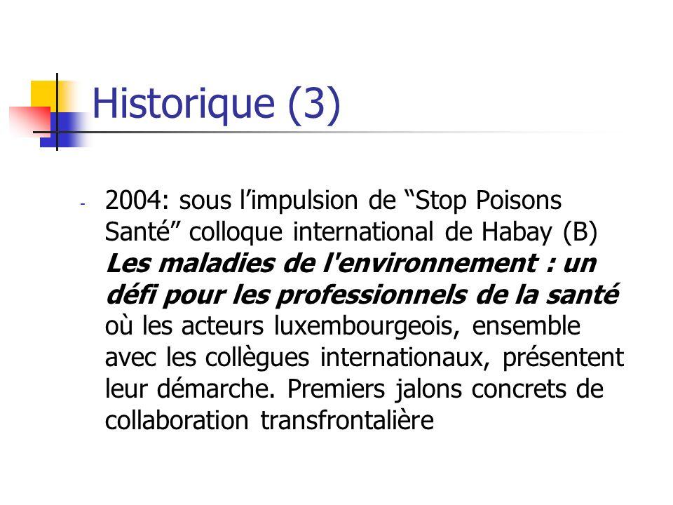 Historique (3) - 2004: sous limpulsion de Stop Poisons Santé colloque international de Habay (B) Les maladies de l environnement : un défi pour les professionnels de la santé où les acteurs luxembourgeois, ensemble avec les collègues internationaux, présentent leur démarche.
