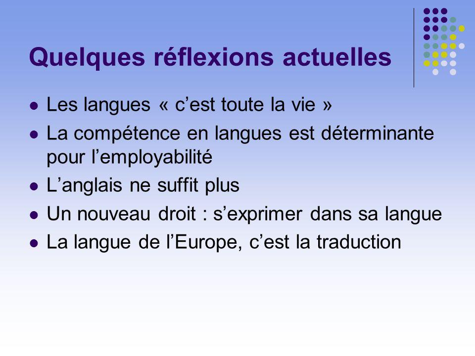 Quelques réflexions actuelles Les langues « cest toute la vie » La compétence en langues est déterminante pour lemployabilité Langlais ne suffit plus Un nouveau droit : sexprimer dans sa langue La langue de lEurope, cest la traduction