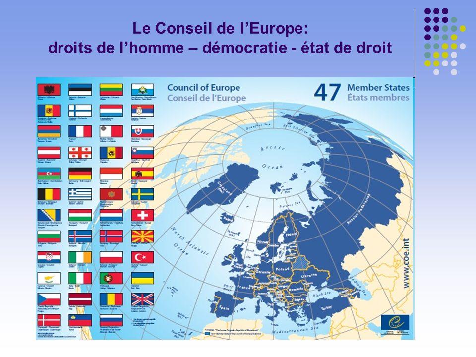 Le Conseil de lEurope: droits de lhomme – démocratie - état de droit