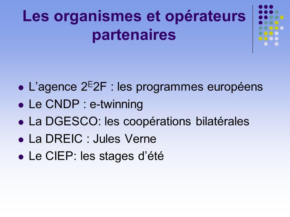 Les organismes et opérateurs partenaires Lagence 2 E 2F : les programmes européens Le CNDP : e-twinning La DGESCO: les coopérations bilatérales La DREIC : Jules Verne Le CIEP: les stages dété