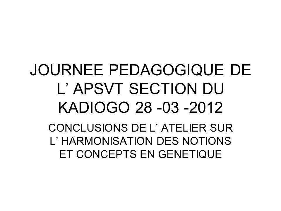 """Pr�sentation """"JOURNEE PEDAGOGIQUE DE L APSVT SECTION DU KADIOGO 28 ..."""