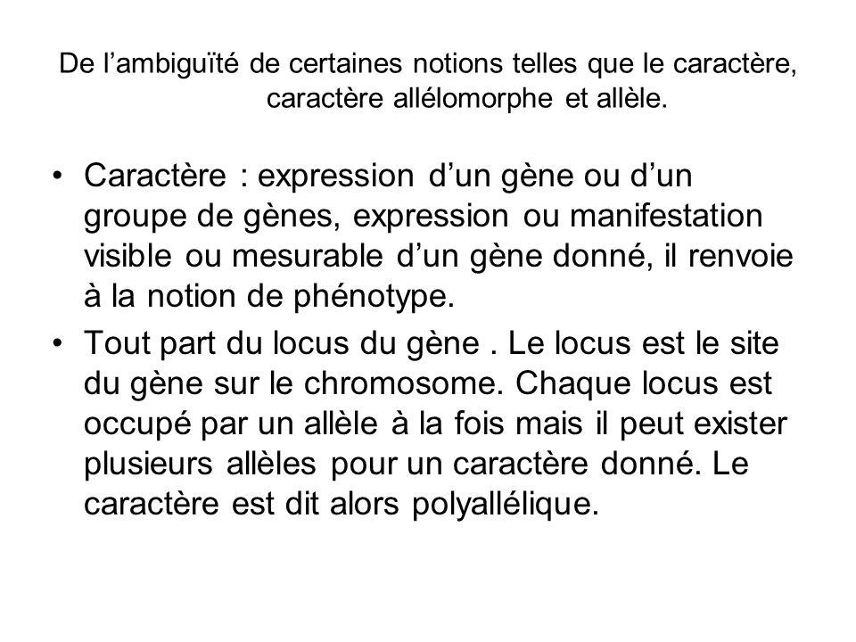 Suite Un individu diploïde porte donc, pour chaque gène, deux locus (un sur chaque chromosome homologue).