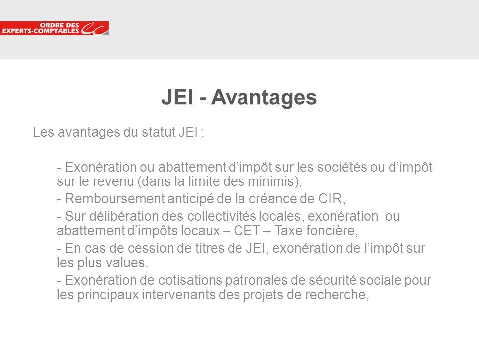 10 JEI - Avantages Les avantages du statut JEI : - Exonération ou abattement dimpôt sur les sociétés ou dimpôt sur le revenu (dans la limite des minim