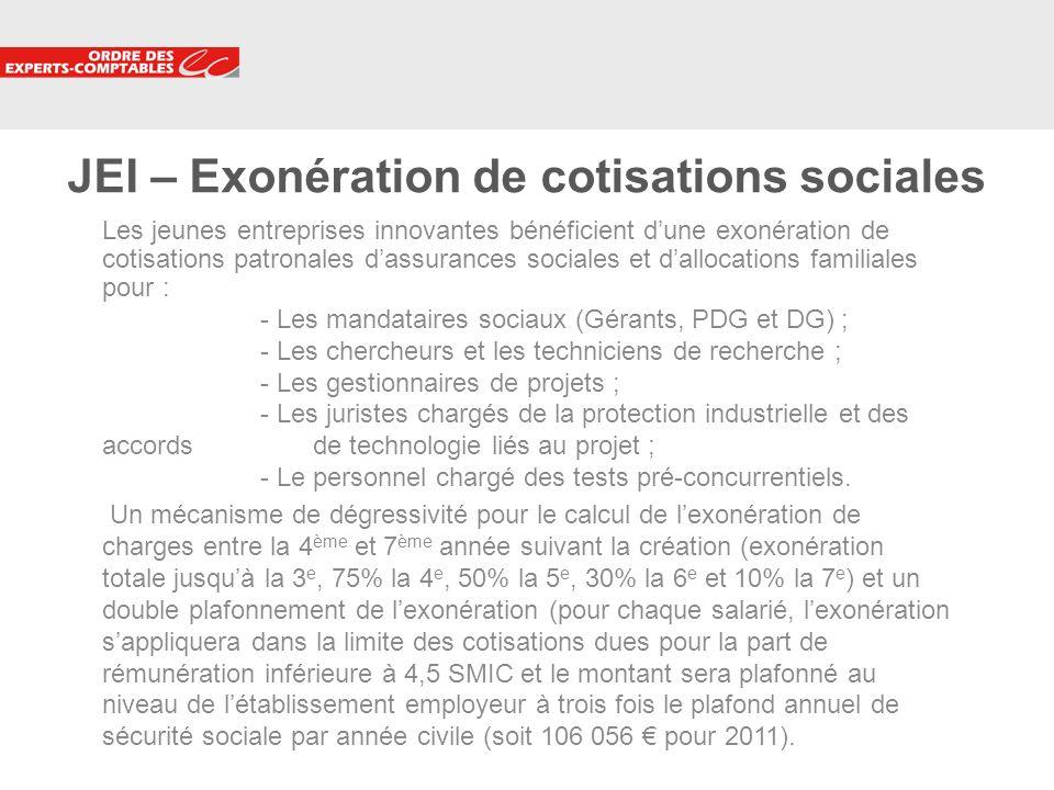 11 JEI – Exonération de cotisations sociales Les jeunes entreprises innovantes bénéficient dune exonération de cotisations patronales dassurances soci