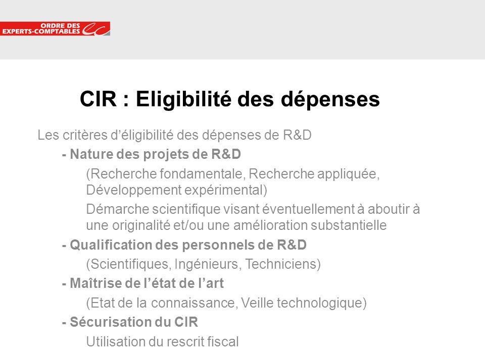 5 Les critères déligibilité des dépenses de R&D - Nature des projets de R&D (Recherche fondamentale, Recherche appliquée, Développement expérimental)
