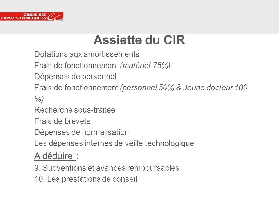 6 Assiette du CIR Dotations aux amortissements Frais de fonctionnement (matériel,75%) Dépenses de personnel Frais de fonctionnement (personnel 50% & J