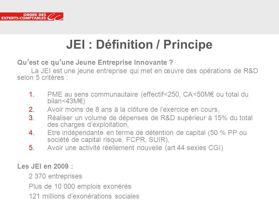 9 JEI : Définition / Principe Quest ce quune Jeune Entreprise Innovante ? La JEI est une jeune entreprise qui met en œuvre des opérations de R&D selon