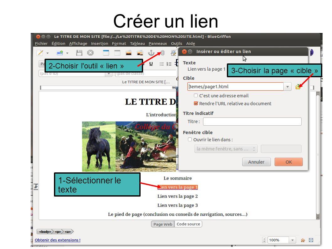 Créer un lien 1-Sélectionner le texte 2-Choisir l outil « lien » 3-Choisir la page « cible »