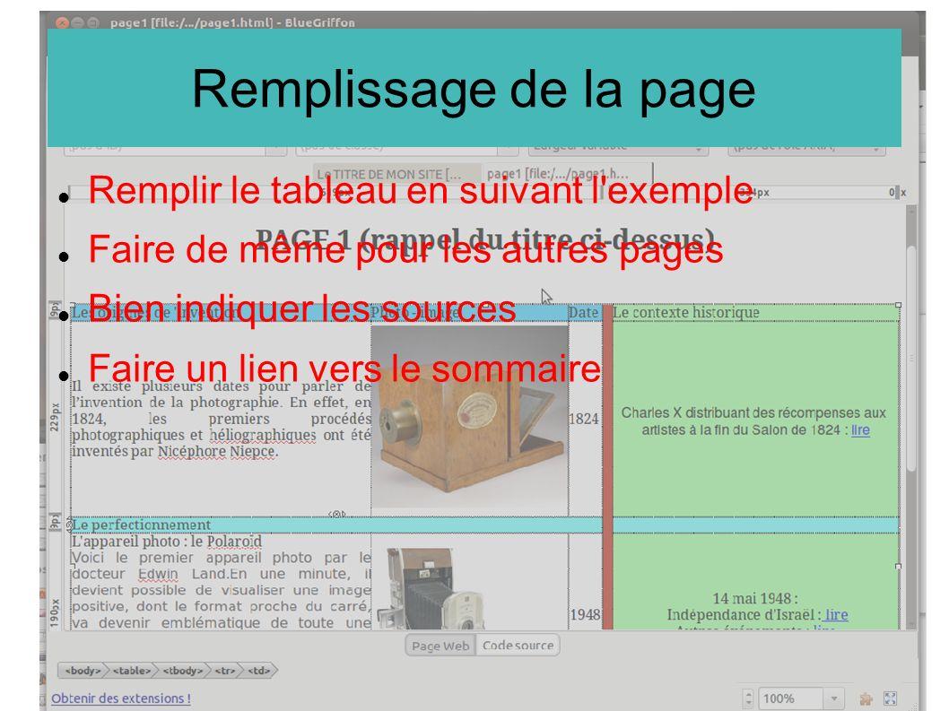 Remplissage de la page Remplir le tableau en suivant l exemple Faire de même pour les autres pages Bien indiquer les sources Faire un lien vers le sommaire