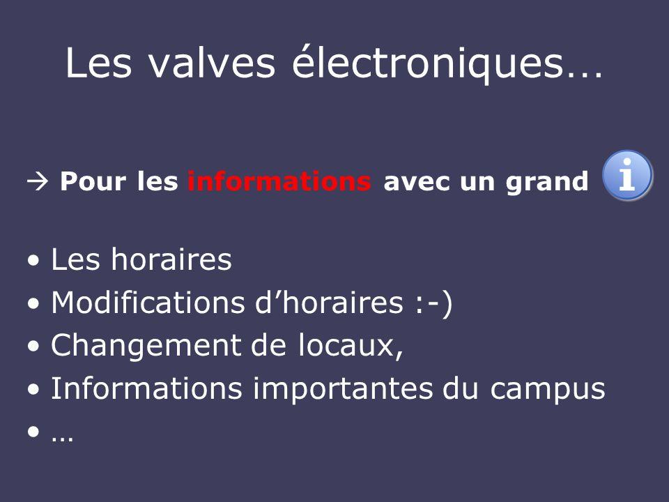 Les valves électroniques … Pour les informations avec un grand Les horaires Modifications dhoraires :-) Changement de locaux, Informations importantes