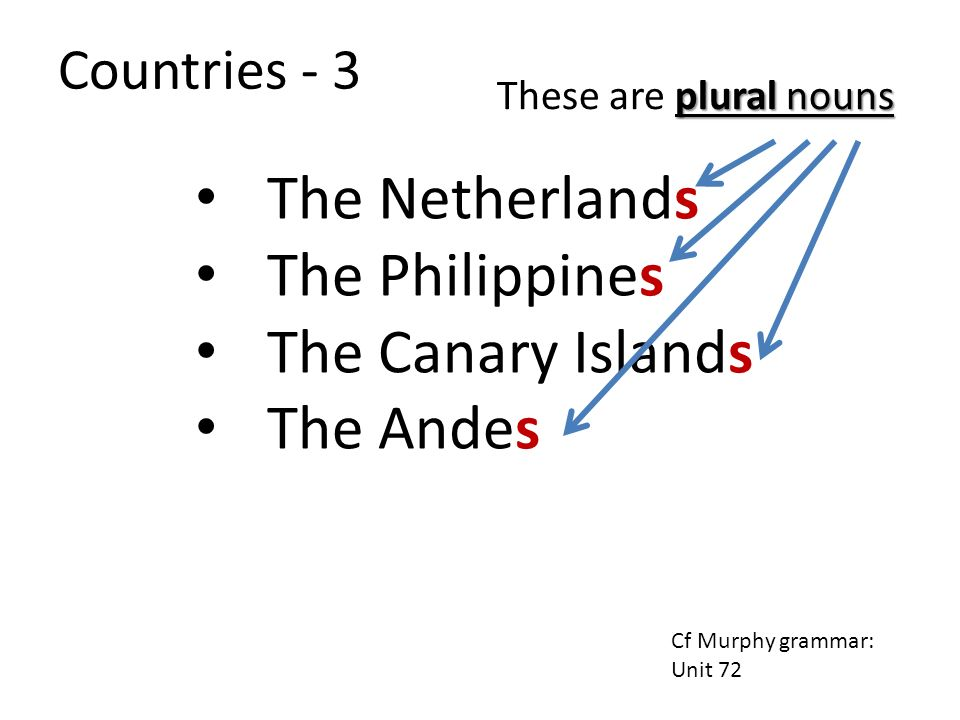 The Netherlands The Philippines The Canary Islands The Andes plural nouns These are plural nouns Cf Murphy grammar: Unit 72 Countries - 3