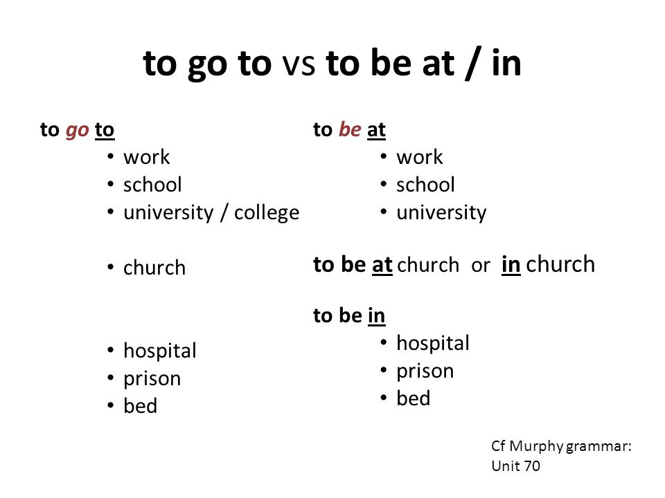 to go to vs to be at / in to go to work school university / college church hospital prison bed to be at work school university to be at church or in c