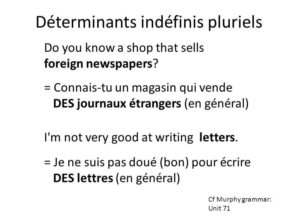 Do you know a shop that sells foreign newspapers? = Connais-tu un magasin qui vende DES journaux étrangers (en général) I'm not very good at writing l