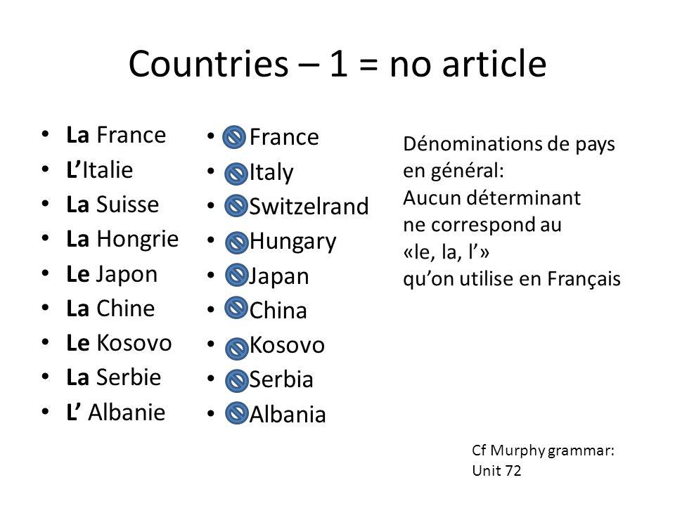 Countries – 1 = no article La France LItalie La Suisse La Hongrie Le Japon La Chine Le Kosovo La Serbie L Albanie France Italy Switzelrand Hungary Jap
