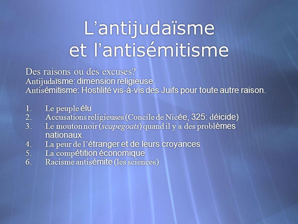Lantijudaïsme et lantisémitisme Des raisons ou des excuses? Antijuda ïsme: dimension religieuse. Antis émitisme: Hostilité vis-à-vis des Juifs pour to