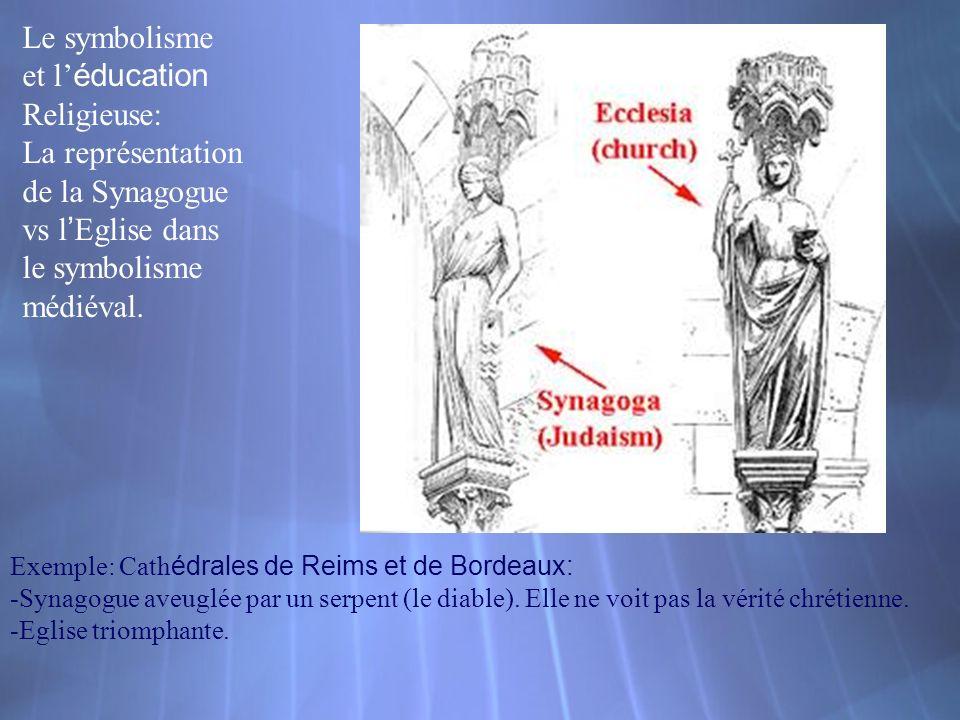 Exemple: Cath édrales de Reims et de Bordeaux: -Synagogue aveuglée par un serpent (le diable). Elle ne voit pas la vérité chrétienne. -Eglise triompha