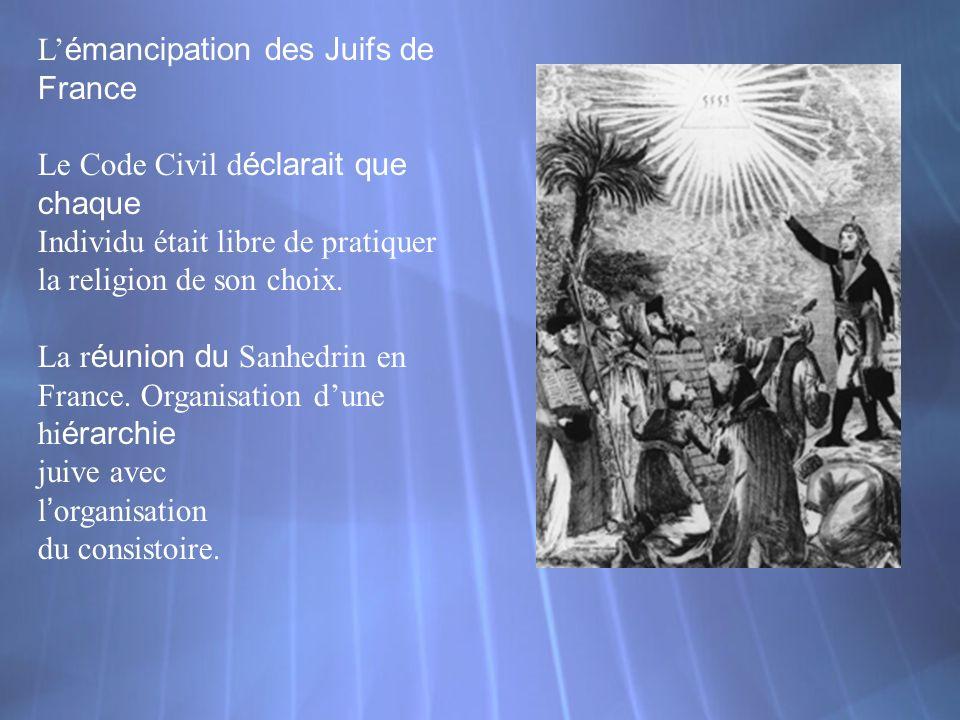 L émancipation des Juifs de France Le Code Civil d éclarait que chaque Individu était libre de pratiquer la religion de son choix. La r éunion du Sanh