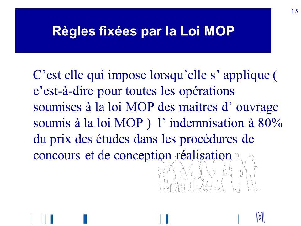 13 Cest elle qui impose lorsquelle s applique ( cest-à-dire pour toutes les opérations soumises à la loi MOP des maitres d ouvrage soumis à la loi MOP