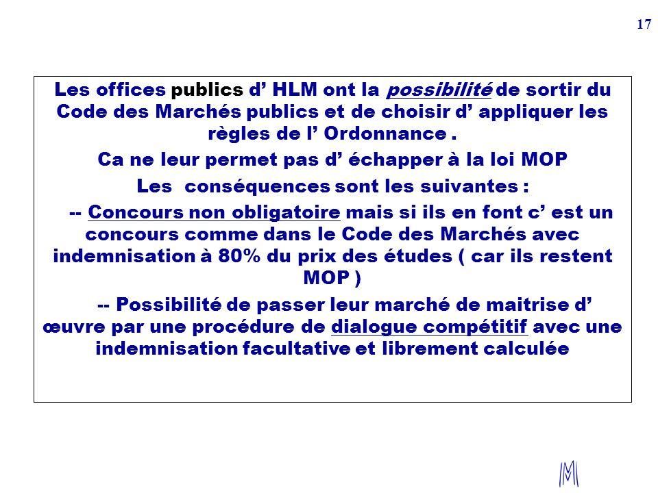 17 Les offices publics d HLM ont la possibilité de sortir du Code des Marchés publics et de choisir d appliquer les règles de l Ordonnance. Ca ne leur