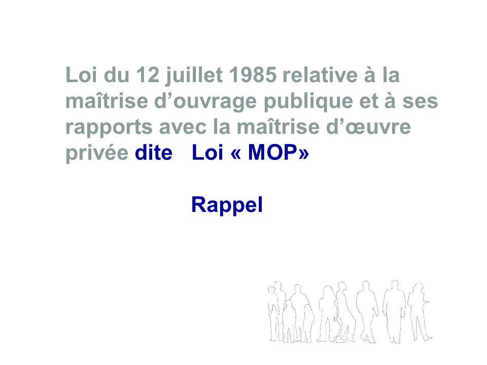 Loi du 12 juillet 1985 relative à la maîtrise douvrage publique et à ses rapports avec la maîtrise dœuvre privée dite Loi « MOP» Rappel