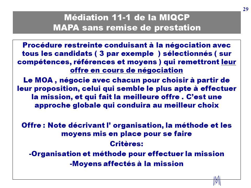 29 Médiation 11-1 de la MIQCP MAPA sans remise de prestation Procédure restreinte conduisant à la négociation avec tous les candidats ( 3 par exemple
