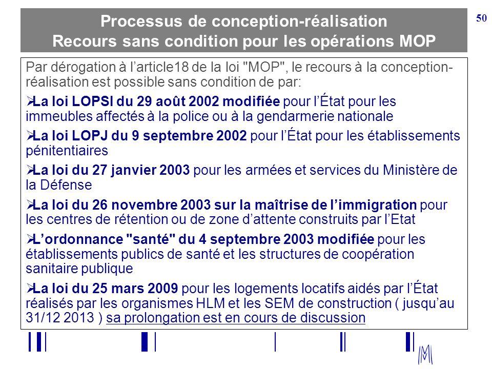 50 Processus de conception-réalisation Recours sans condition pour les opérations MOP Par dérogation à larticle18 de la loi