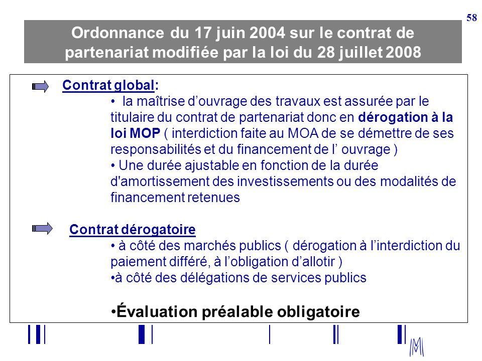 58 Ordonnance du 17 juin 2004 sur le contrat de partenariat modifiée par la loi du 28 juillet 2008 Contrat global: la maîtrise douvrage des travaux es