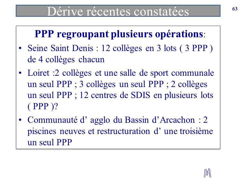 63 PPP regroupant plusieurs opérations : Seine Saint Denis : 12 collèges en 3 lots ( 3 PPP ) de 4 collèges chacun Loiret :2 collèges et une salle de s